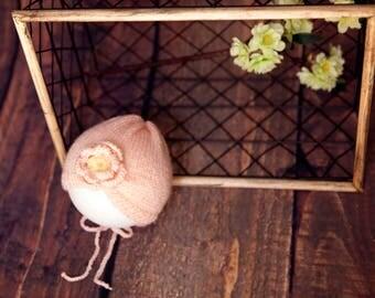newborn- baby girl crochet pink  bonnet  - newborn knit photography props -knit newborn hat-newborn photography