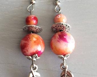 Orange red ombre White Jade earrings
