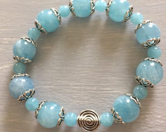 Navy aquamarine bracelet with charms