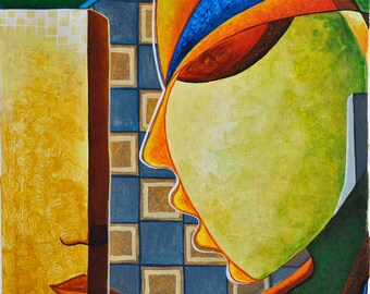 FOR SALE Original handmade abstract painting on Canvas-Utopian World