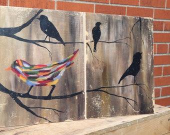 Birds Painting Wood Transfer