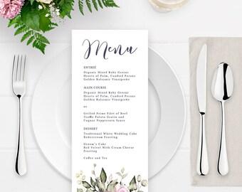 Printable Wedding Menu - Spring Wedding - Printable Menu - Greenery Wedding Invitation set - Floral Boho Wedding - Floral Menu - PDF