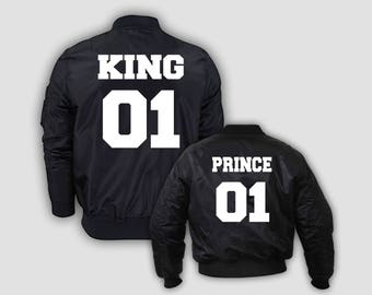 "SET ""King and Prince"" bomber jackets for adults and kids"