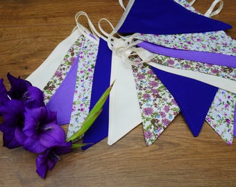 Vintage Look Flower Floral Plain Purple White Lilac Bunting Banner Garland Shabby Chic Rustic Wedding Reception Decor Girls Birthday Party