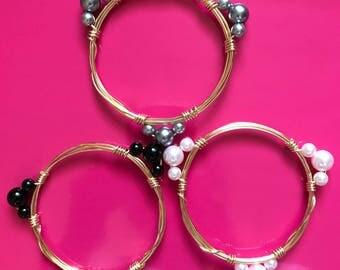 3 Pearl Wire Bracelet