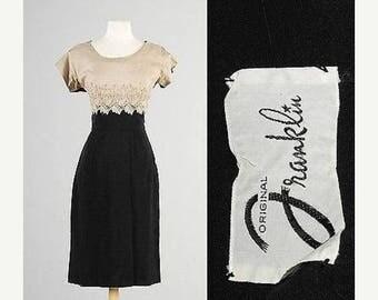 SALE Medium 1950s Pencil Dress Simple Summer Dress Two Tone Little Black Dress Vintage 50s Hourglass