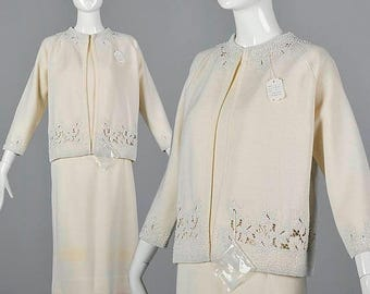 SALE Large 1960s Autumn Separates Deadstock Three Piece Skirt Set Vintage 60s Cream Wool Knit Cut Out Beaded Jacket
