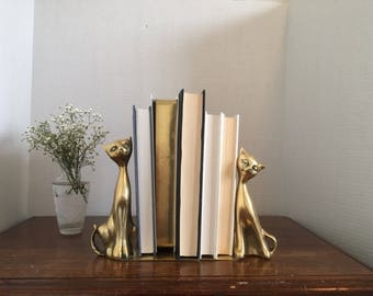 Brass Bookends - Two Cats | Vintage and Antique Brass Bookends
