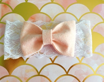 Lace headband and bow wool felt