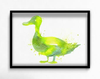 Watercolor duck canvas art print poster