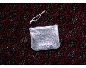 silver  leather clutch, evening bag , clutch handbag