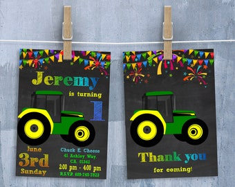Tractor Invitation, John Deere Invitation, Tractor Invite, Boy's Birthday, Tractor Invitations with Free Thank You Card, Personalized JPEG