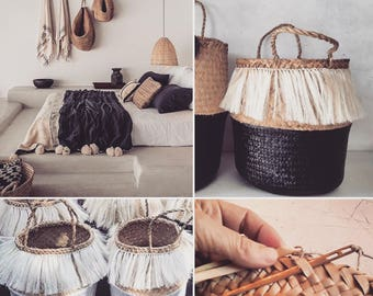 Black Fringed belly basket