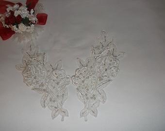 White Silver/Pearl/Rhinestone Beaded Flower Applique
