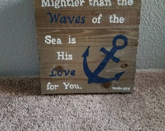 Nautical Themed Bible Verse Wood Sign