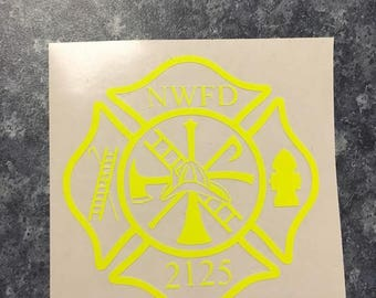 Custom Firefighter Maltese Cross Decal