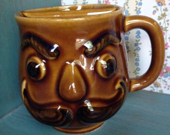 Vintage Moustache Mug, gorgeous  shape, rich brown colours, no chips.