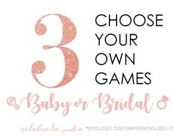 Choose Any 3 Games or Signs. Baby or Bridal Shower Games! Instant Download. Printable Baby Shower and Bridal Shower Games/Signs.