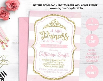 25% OFF SALE Pink and Gold Princess Baby Shower Invitation, Chevron Invitation, Girl Baby Shower, Gold Glitter invitation, Editable, Instant