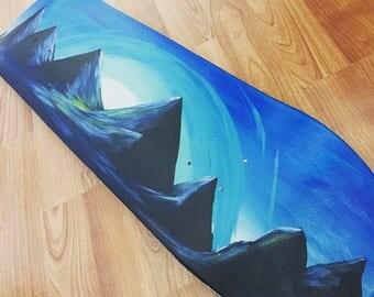 Acrylic Landscape Painting on a Skateboard