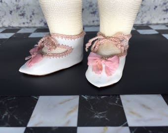 "Leather doll shoes 5 cm  - 2 ""  French style for an antique doll white and pink."