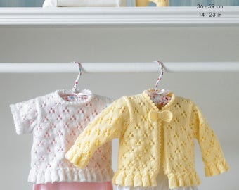Cardigan and Top Knitting Pattern - King Cole DK and 4 Ply Knitting Pattern 2962