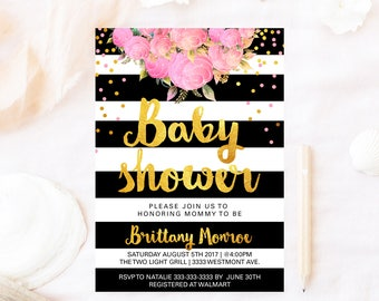 Floral Kate baby shower invitation, Spade baby shower invitation, Kate baby shower invitation, black and white stripe Spade baby shower