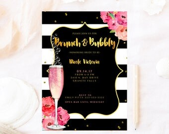 Bridal shower ,brunch and bubbly, bridal shower, champagne gold, Brunch bubbly invitation, brunch bridal shower invitation, bridal shower