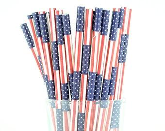 4th of July Paper Straw Mix, American Flag Straws, Holiday Straws, Party Decor, Cake Pop Sticks, Party Supplies, Mason Jar Straws