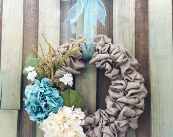 Burlap Wreath hydrangea flowers