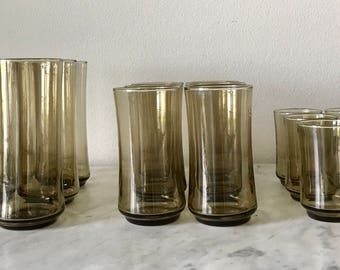 Set of 18 smokey gray small, medium and large highball/tumbler glasses, set of 18 gray Libbey tumbler/highball glasses