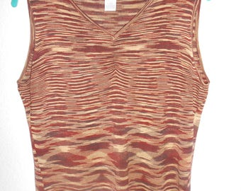 WORTHINGTON women's brown variegated silk tank top size Petitte large
