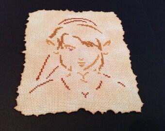 Framed Zelda cross stitch, Link.