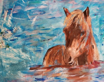 large abstract original painting. print on canvas, horse swimming at sea