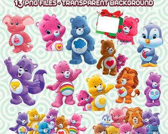 Care Bears Clipart, Care Bears PNG, Bears Images, Care Bears Printable,Bears Cartoon, Instant Download 06