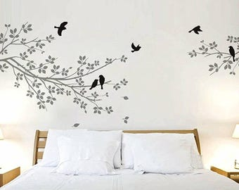 Birds on Tree Branch Stencils Wall Painting Stencil Reusable Stencil Wall Stencil Pattern Size 48x60Inches Wall Stencils Nursery Stencil