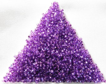 11/0, 50 g, Preciosa See Beads Rocaille, Czech Glass Beads 18228 transparent violet silver lined