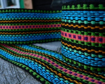 No.43 Black - Handmade Woven Trim, Woven Ribbon, Strap, Inkle Trim, Inkle Weaving, Inkle loom, Belt, Ribbon for sewing