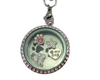 Love My Dog Floating Charm Locket Necklace