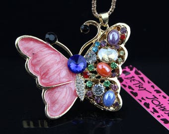 Betsey Johnson Crystal Enamel Butterfly Pendant Necklace