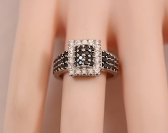 925 Sterling Silver Black White Rhinestone Rectangle Ring Size 7.5 6.2g