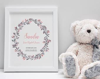Birth announcement wall art, personalized baby gifts, customized birth stats, baby stats, baby keepsake, pink and gray, floral wreath