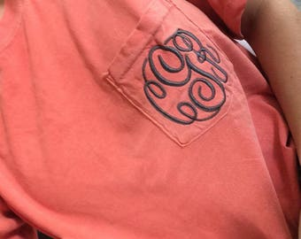 Embroidered Comfort Color TShirt, Personalized Comfort Color, Comfort Color Tee, Monogram Comfort Color Tee, Custom Comfort Color Tee