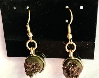Small Brown Quartz Earrings