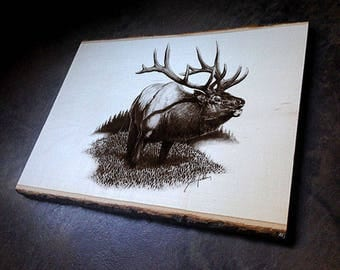 Bull Elk #2 Wildlife Art Print on Wood with Bark Edges - Cabin Art Wall Decor