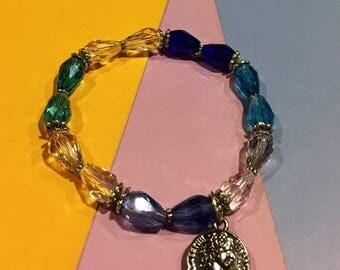 Unique Multicolored Crystal Bracelet/w Charm