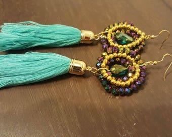 Long Aqua Tassel Earrings