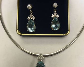 AQUAMARINE-HIGH END Aqua Necklace and Earrings
