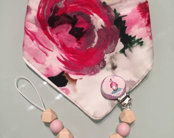 Baby Bib with Pacifier Clip