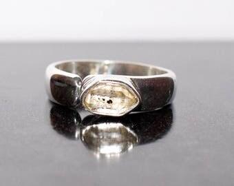 Herkimer Diamond Ring in Sterling Silver (Adjustable)